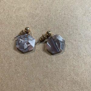 Purple marble dangle geometric earrings